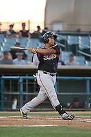 Josh Naylor (32) of the Lake Elsinore Storm bats against the Lancaster JetHawks at The Hanger on August 2, 2016 in Lancaster, California. Lake Elsinore defeated Lancaster, 10-9. (Larry Goren/Four Seam Images)