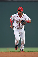 Second baseman Steven Reveles (18) of the Greenville Drive plays defense in a game against the Asheville Tourists on Wednesday, August 2, 2017, at Fluor Field at the West End in Greenville, South Carolina. Greenville won, 1-0. (Tom Priddy/Four Seam Images)