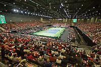 Switserland, Genève, September 19, 2015, Tennis,   Davis Cup, Switserland-Netherlands, Doubles: Overall vieuw<br /> Photo: Tennisimages/Henk Koster