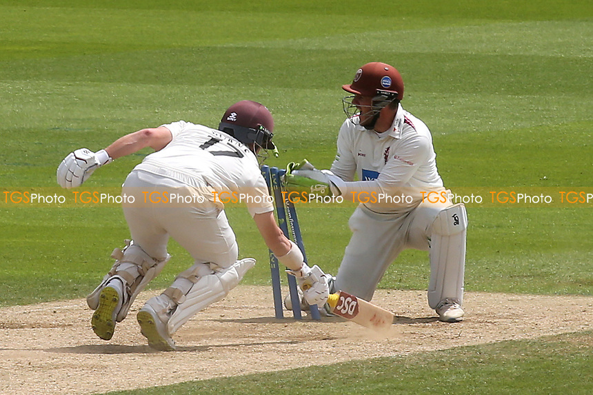 Somerset wicketkeeper, Steve Davies, appeals for a run out, but Surrey batsman, Rory Burns safely grounds his bat in the crease during Surrey CCC vs Somerset CCC, LV Insurance County Championship Group 2 Cricket at the Kia Oval on 13th July 2021