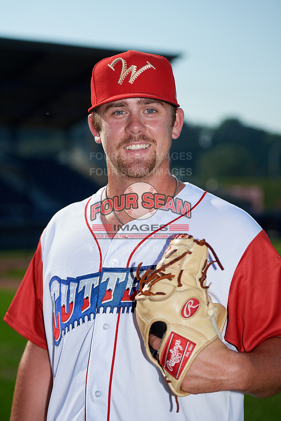Williamsport Crosscutters pitcher Blake Bennett (47) poses for a photo before a game against the Mahoning Valley Scrappers on August 28, 2018 at BB&T Ballpark in Williamsport, Pennsylvania.  Williamsport defeated Mahoning Valley 8-0.  (Mike Janes/Four Seam Images)