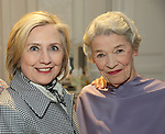 Hillary Clinton backstage with Glenda Jackson from the cast of 'Edward Albee's Three Tall Women' at the John Golden Theatre on June 5, 2018 in New York City.