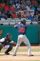 Salem Red Sox first baseman Josh Ockimey (30) at bat during a game against the Down East Wood Ducks  at Grainger Stadium on April 16, 2017 in Kinston, North Carolina. Salem defeated Down East 9-2. (Robert Gurganus/Four Seam Images)