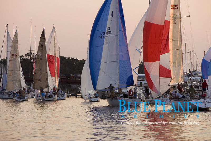 sailboats nearing the bridge over Spa Creek, Annapolis during the Wednesday evening races