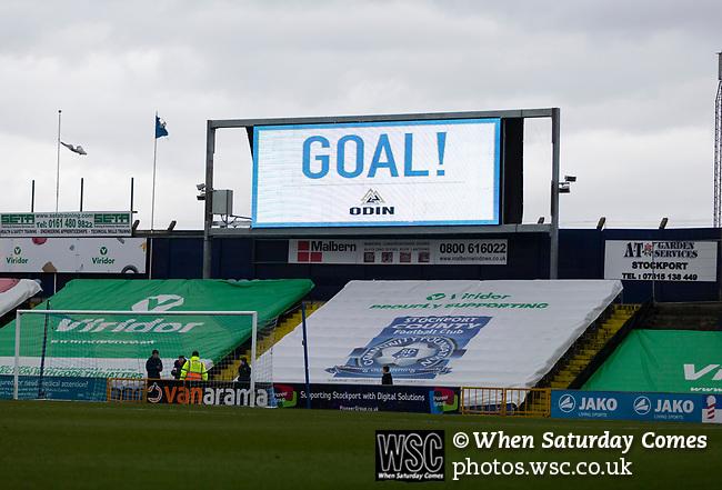 Goal celebration on the scoreboard. Stockport County v Barnet, 07032020. Edgeley Park, National League. Photo by Paul Thompson.