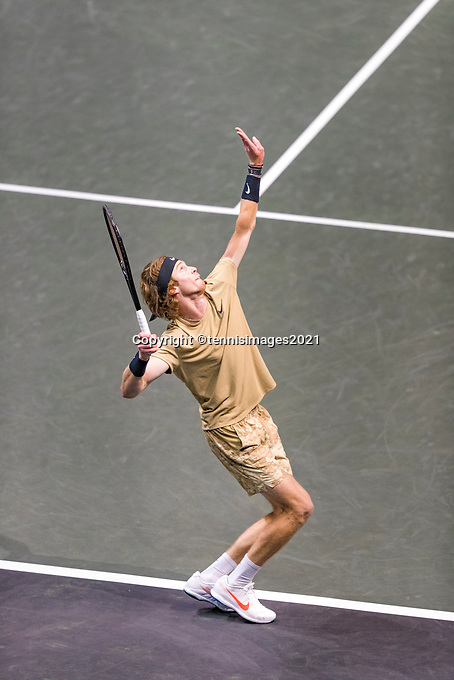 Rotterdam, The Netherlands, 6 march  2021, ABNAMRO World Tennis Tournament, Ahoy,  <br /> Semi final: Andrey Rublev (RUS).Photo: www.tennisimages.com/