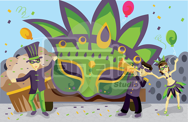 Illustration of Mardi Gras parade with people dancing and playing music