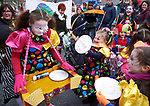 Tuamgraney NS pupil Shannon Conroy gets a pie in the face from Sinead O Brien at the St Patrick's Day parade in Scariff. Photograph by John Kelly.