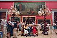 Saint Petersburg, Russia, June 2002..Visitors in the Hermitage and Winter Palace, former home of the Tsars, and one of the world's great museums..