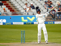 27th May 2021; Emirates Old Trafford, Manchester, Lancashire, England; County Championship Cricket, Lancashire versus Yorkshire, Day 1; Steven Pattersonof Yorkshire plays his shot to the off side boundary