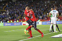 BOGOTA -COLOMBIA, 5-02-2017. Juan Caicedo player of Independiente Medellin celebrates his goal against Millonarios  during match for the date 1 of the Aguila League I 2017 played at Nemesio Camacho El Campin stadium . Photo:VizzorImage / Felipe Caicedo  / Staff