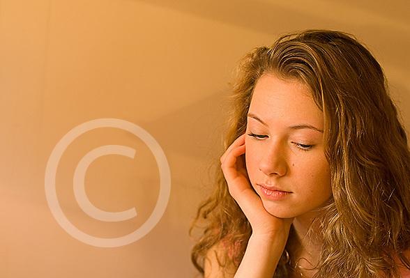 Teenage girl portrait looking sad, depressed