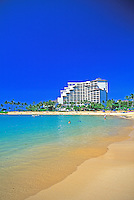 Quiet beaches and calm lagoon waters await visitors of the Ko'olina Resort Hotel on Oahu's leeward coast.