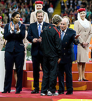 Sepp Blatter, Pia Sundhage, officials.  Japan won the FIFA Women's World Cup on penalty kicks after tying the United States, 2-2, in extra time at FIFA Women's World Cup Stadium in Frankfurt Germany.