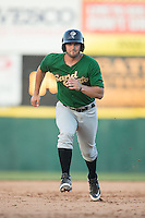 Tyler Moore (2) of the Savannah Sand Gnats hustles towards third base against the Hickory Crawdads at L.P. Frans Stadium on June 14, 2015 in Hickory, North Carolina.  The Crawdads defeated the Sand Gnats 8-1.  (Brian Westerholt/Four Seam Images)