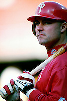 Rico Bronga of the Philadelphia Phillies participates in a Major League Baseball game at Dodger Stadium during the 1998 season in Los Angeles, California. (Larry Goren/Four Seam Images)