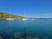Pictured: The village of Agios Stefanos, where the boat believed to be owned by Rob Lucas was discovered according to local reports, after the incident in nearby Avlaki bay, Corfu, Greece. Thursday 03 September 2020<br /> Re: Death of Caire Glatman, from the UK, who died, after allegedly being hit by a speedboat while swimming near the beach by Avlaki bay in Corfu, Greece.
