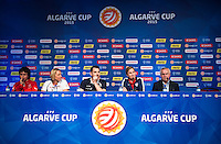 Lagos, Portugal - March 3, 2015:   A press conference was held with the head coaches of all the participating teams before the start of the Algarve Cup in Vilamoura, Portugal.