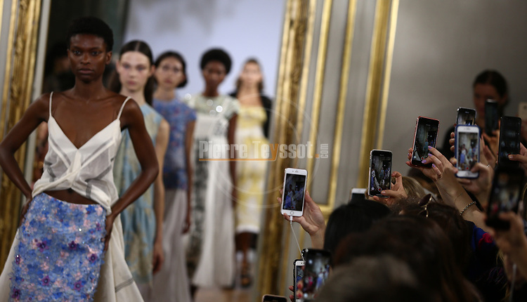A model walks the runway at the Rahul Mishra Fashion Show during the Paris Fashion Week Women's wear Spring Summer 2019, in Paris, France, on September 29, 2018.