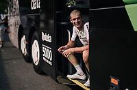 Jay Robert Thomson (ZAF/Dimension Data) recuperating at the teambus after the stage<br /> <br /> Stage 18: Trie-sur-Baïse > Pau (172km)<br /> <br /> 105th Tour de France 2018<br /> ©kramon