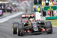 March 14, 2015: Pastor Maldonado (VEN) #13 from the Lotus F1 Team leaves the pits for practise three at the 2015 Australian Formula One Grand Prix at Albert Park, Melbourne, Australia. Photo Sydney Low