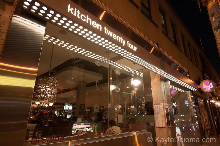 Kitchen twenty four restaurant on the Cahuenga Corridor in Hollywood, Los Angeles, CA
