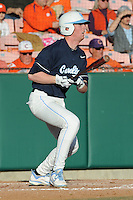 Third Baseman Colin Moran #18 of the North Carolina Tar Heels swings at a pitch during  a game against the Clemson Tigers at Doug Kingsmore Stadium on March 9, 2012 in Clemson, South Carolina. The Tar Heels defeated the Tigers 4-3. Tony Farlow/Four Seam Images.