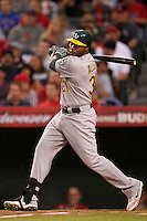 Oakland Athletics first baseman Brandon Allen #31bats against the Los Angeles Angels at Angel Stadium on September 24, 2011 in Anaheim,California. Los Angeles defeated Oakland 4-2.(Larry Goren/Four Seam Images)