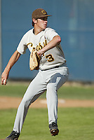 Trevor Plouffe of Crespi High School pitches during a 2004 season game at Crespi High School in Encino, California. (Larry Goren/Four Seam Images)