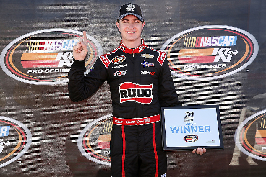MOBILE, AL - MARCH 13:  Spencer Davis, driver of the #41 Davis Poultry Chevrolet, holds his pole award after  qualifying first for the NASCAR K&N Pro Series East Mobile 150 on March 13, 2016 in Mobile, Alabama.  (Photo by Jonathan Bachman/NASCAR via Getty Images)