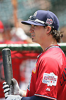 Drew Cumberland of the San Diego Padres organization participates in the Futures Game at Angel Stadium in Anaheim,California on July 11, 2010. Photo by Larry Goren/Four Seam Images