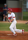 Lake Mary Rams outfielder Joseph Pesce (4) during a game against the Lake Brantley Patriots on April 2, 2015 at Allen Tuttle Field in Lake Mary, Florida.  Lake Brantley defeated Lake Mary 10-5.  (Mike Janes Photography)