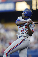 Vladimir Guerrero of the Montreal Expos bats during a 2002 MLB season game  against the Los Angeles Dodgers at Dodger Stadium, in Los Angeles, California. (Larry Goren/Four Seam Images)