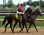 June 21, 2014:  Rachel's Ready and jockey Corey Lanerie in the post parade of the Debutante Stakes at Churchill.  Owner Carl Pollard, trainer David Vance. ©Mary M. Meek/ESW/CSM