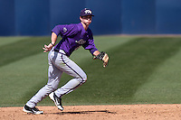 Derek Odell #2 of the TCU Horned Frogs in the field against the Cal State Fullerton Titans at Goodwin Field on February 26, 2012 in Fullerton,California. Fullerton defeated TCU 11-10.(Larry Goren/Four Seam Images)