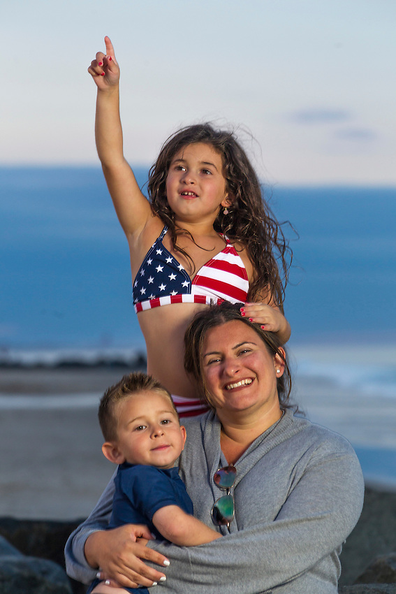 Family beach photos of Robyn Giordano and her daughter & son shot on location at Mansquan's Brielle Road Beach on the evening of Fri., Aug.15, 2014.