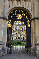UK, England, Oxford.  Gateway Looking in to Codrington Library, All Souls College.