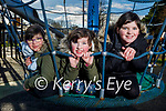 Abby and Lily Ann Hobbert and Saoirse O'Connor enjoying the playground in the Tralee Town park on Friday.