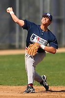 February 10 2008: Tyler Rahmatulla participates in a MLB pre draft workout for high school players at the Urban Youth Academy in Compton,CA.  Photo by Larry Goren/Four Seam Images