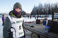 Chandler Wappett portrait at the start of the 2016 Junior Iditarod Sled Dog Race on Willow Lake  in Willow, AK February 27, 2016
