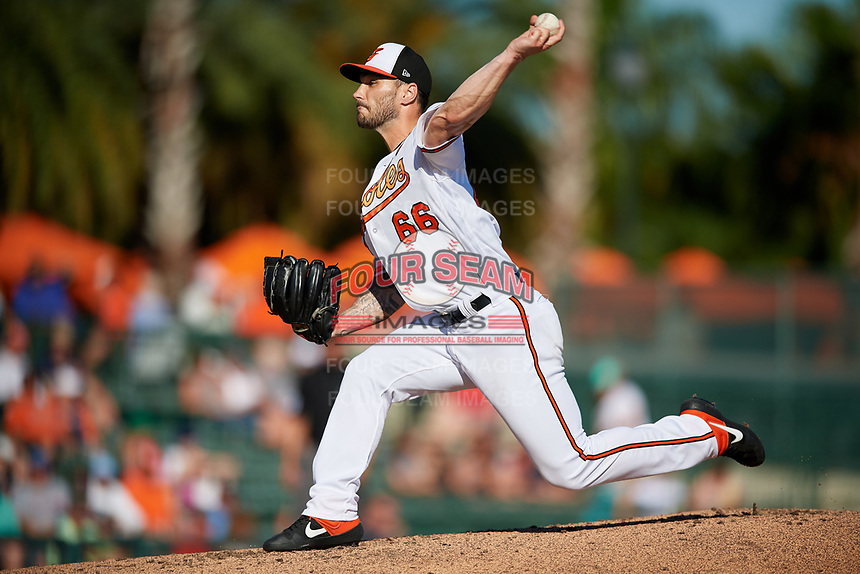 Baltimore Orioles relief pitcher Tanner Scott (66) delivers a pitch during a Grapefruit League Spring Training game against the Detroit Tigers on March 3, 2019 at Ed Smith Stadium in Sarasota, Florida.  Baltimore defeated Detroit 7-5.  (Mike Janes/Four Seam Images)