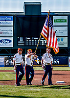 29 May 2021: A Vermont Color Guard walks off the field after the National Anthem prior to a game between the Norwich Sea Unicorns and the Vermont Lake Monsters at Centennial Field in Burlington, Vermont. The Lake Monsters defeated the Unicorns 6-3 in their FCBL Home Opener, the first home game played at Centennial Field post-Covid-19 pandemic. Mandatory Credit: Ed Wolfstein Photo *** RAW (NEF) Image File Available ***