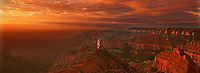 935000012 panoramic view -  sunrise lights up mount hayden at point imperial under a blanket of high clouds during summer at the north rim of grand canyon national park in arizona