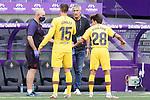 FC Barcelona's coach Quique Setien with Clement Lenglet and Riqui Puig during La Liga match. July 11,2020. (ALTERPHOTOS/Acero)