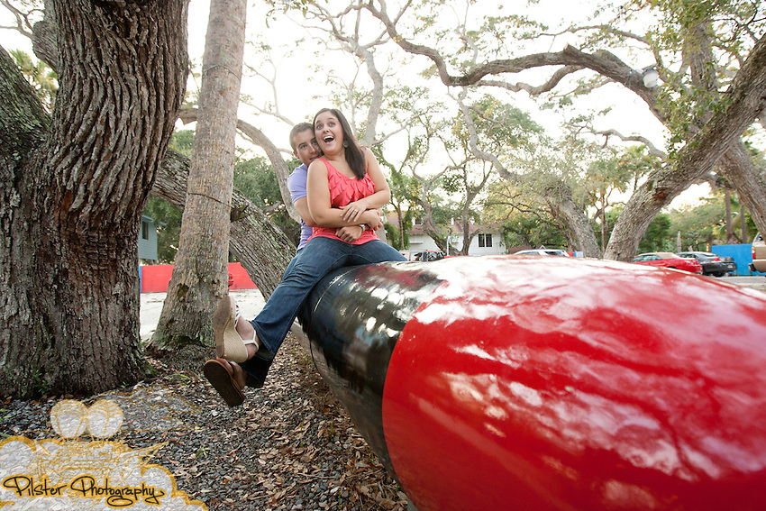 Rachel Antoine and Eric Brink during an engagement session on Saturday, August 27, 2011, at Crabby Joe's in Daytona Beach, Florida. They then went to the lighthouse at Ponce Inlet (Chad Pilster for Pilster Photography http://www.PilsterPhotography.net)