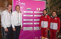 The Netherlands, Den Bosch, 16.04.2014. Fed Cup Netherlands-Japan, Draw, doubles : Kiki Bertens/Michaella Krajicek  vs Risa Ozaki/Shuko Aoyama<br /> Photo:Tennisimages/Henk Koster
