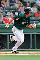 Outfielder Kevin Mager (32) of the Greenville Drive in a game against the Charleston RiverDogs on Sunday, May 19, 2013, at Fluor Field at the West End in Greenville, South Carolina. Charleston won, 9-7. (Tom Priddy/Four Seam Images)