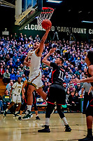 16 December 2018: University of Vermont Catamount Forward Anthony Lamb, a Junior from Toronto, Ontario, lays one up in first half action against the Northeastern University Huskies at Patrick Gymnasium in Burlington, Vermont. The Catamounts defeated the Huskies 75-70 in NCAA Division I America East play. Mandatory Credit: Ed Wolfstein Photo *** RAW (NEF) Image File Available ***