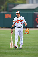 Baltimore Orioles third baseman Ryan Flaherty (3) walks to the dugout before a Spring Training exhibition game against the Dominican Republic on March 7, 2017 at Ed Smith Stadium in Sarasota, Florida.  Baltimore defeated the Dominican Republic 5-4.  (Mike Janes/Four Seam Images)