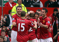 Pictured: Manchester United players celebrating. <br /> Sunday 12 May 2013<br /> Re: Barclay's Premier League, Manchester City FC v Swansea City FC at the Old Trafford Stadium, Manchester.